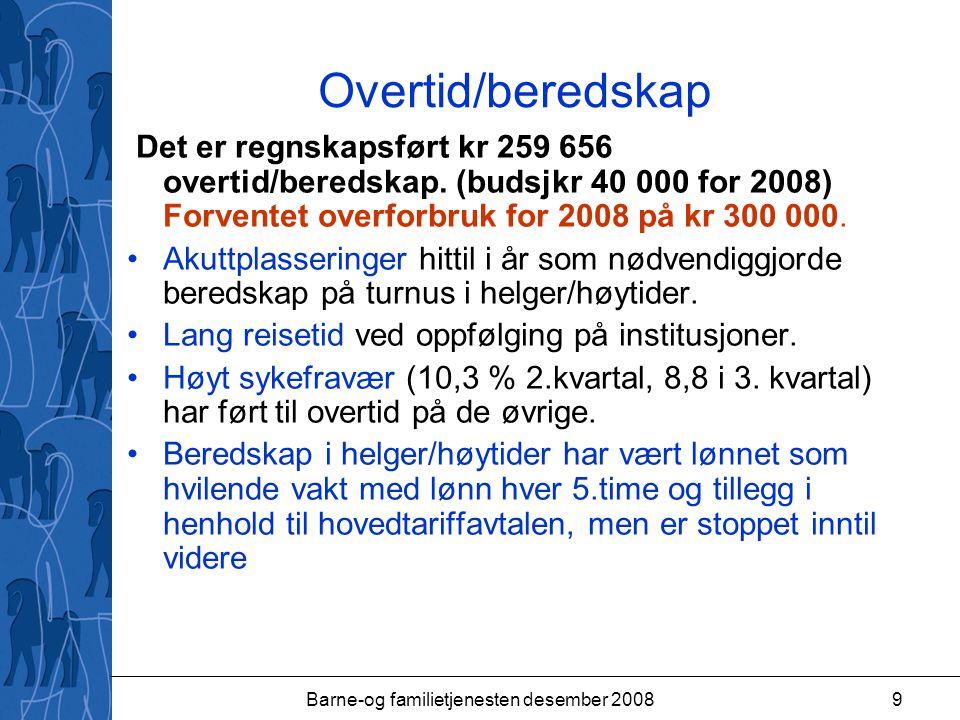 Barne-og familietjenesten desember 20089 Overtid/beredskap Det er regnskapsført kr 259 656 overtid/beredskap.