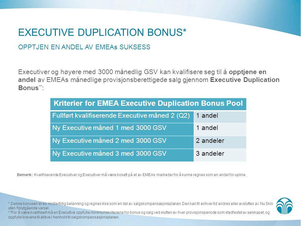 Executiver og høyere med 3000 månedlig GSV kan kvalifisere seg til å opptjene en andel av EMEAs månedlige provisjonsberettigede salg gjennom Executive Duplication Bonus ** : * Denne bonusen er en midlertidig belønning og regnes ikke som en del av salgskompensasjonsplanen.