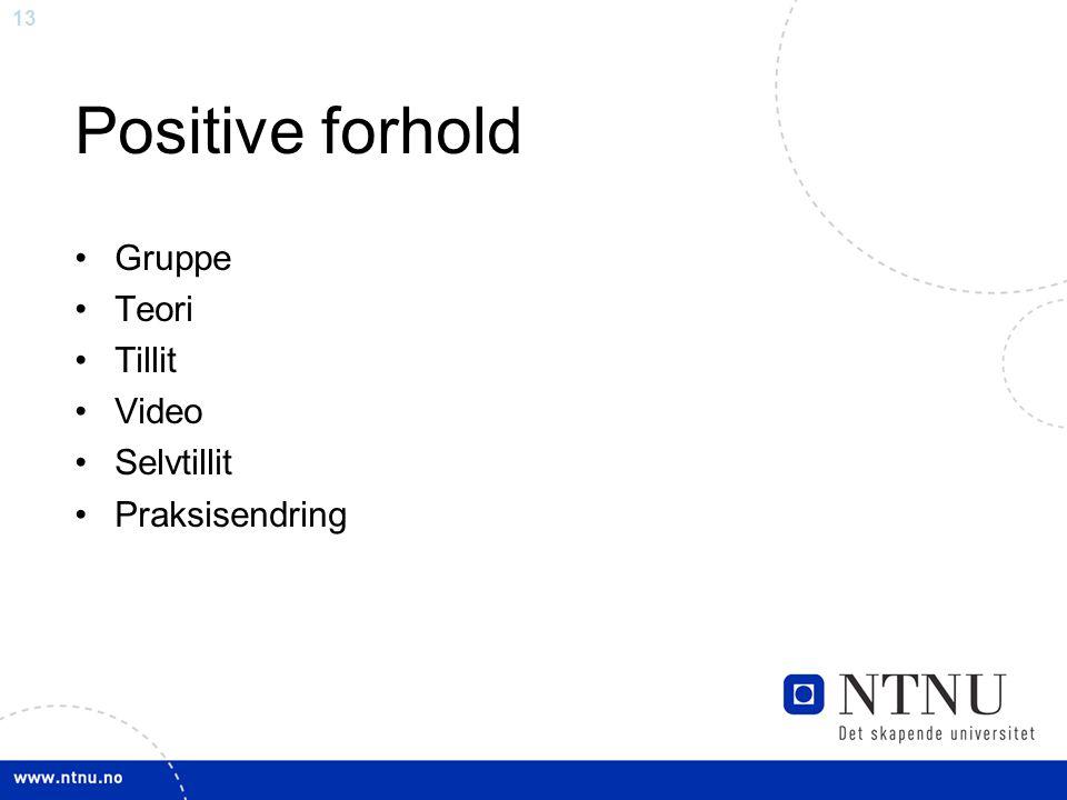 13 Positive forhold Gruppe Teori Tillit Video Selvtillit Praksisendring