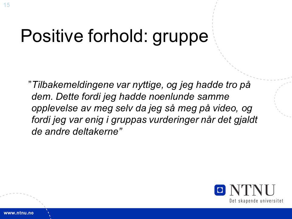"""15 Positive forhold: gruppe """"Tilbakemeldingene var nyttige, og jeg hadde tro på dem. Dette fordi jeg hadde noenlunde samme opplevelse av meg selv da j"""