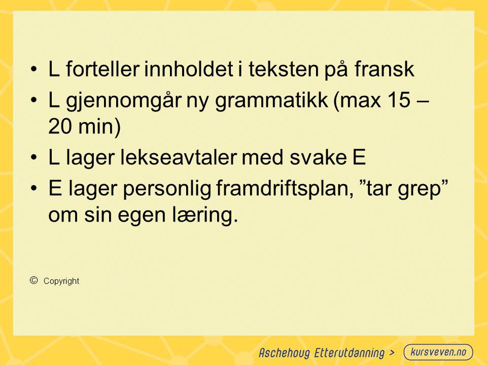 L forteller innholdet i teksten på fransk L gjennomgår ny grammatikk (max 15 – 20 min) L lager lekseavtaler med svake E E lager personlig framdriftspl