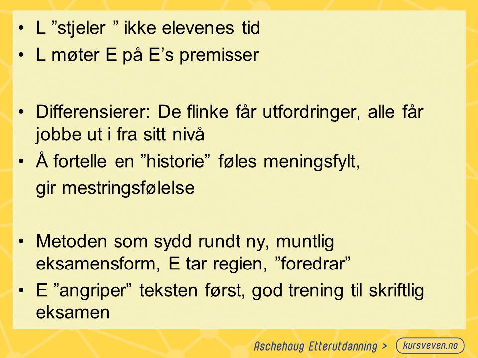 """L """"stjeler """" ikke elevenes tid L møter E på E's premisser Differensierer: De flinke får utfordringer, alle får jobbe ut i fra sitt nivå Å fortelle en"""
