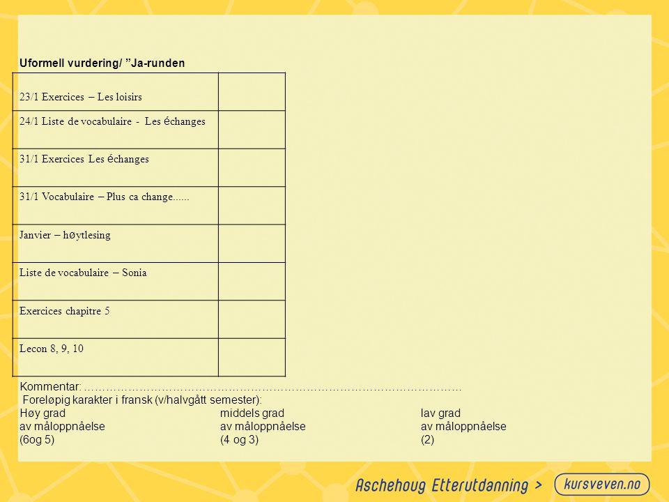 """Uformell vurdering/ """"Ja-runden 23/1 Exercices – Les loisirs 24/1 Liste de vocabulaire - Les é changes 31/1 Exercices Les é changes 31/1 Vocabulaire –"""