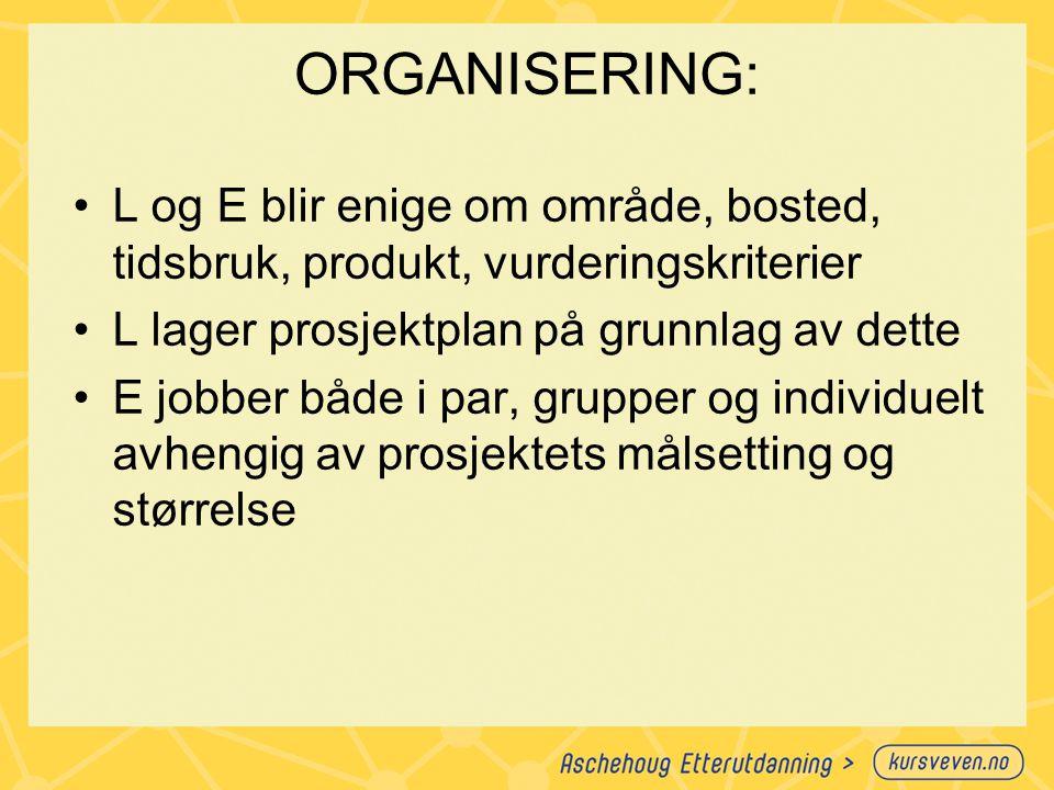 ORGANISERING: L og E blir enige om område, bosted, tidsbruk, produkt, vurderingskriterier L lager prosjektplan på grunnlag av dette E jobber både i pa