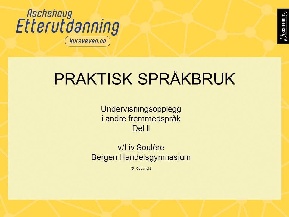 PRAKTISK SPRÅKBRUK Undervisningsopplegg i andre fremmedspråk Del ll v/Liv Soulère Bergen Handelsgymnasium © Copyright