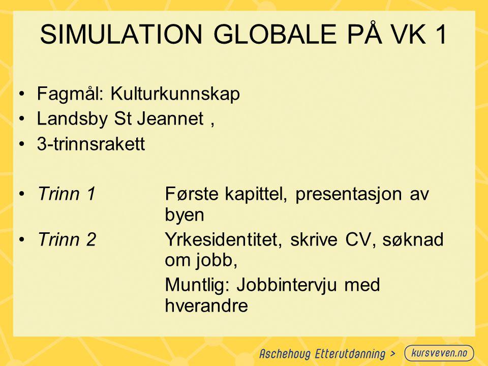 SIMULATION GLOBALE PÅ VK 1 Fagmål: Kulturkunnskap Landsby St Jeannet, 3-trinnsrakett Trinn 1Første kapittel, presentasjon av byen Trinn 2Yrkesidentite
