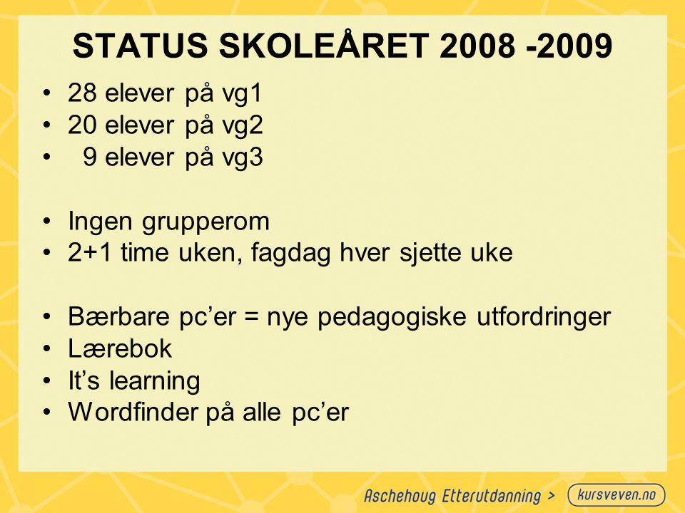 STATUS SKOLEÅRET 2008 -2009 28 elever på vg1 20 elever på vg2 9 elever på vg3 Ingen grupperom 2+1 time uken, fagdag hver sjette uke Bærbare pc'er = ny