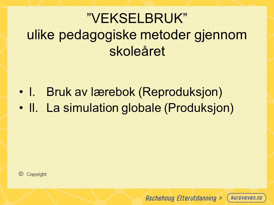 """""""VEKSELBRUK"""" ulike pedagogiske metoder gjennom skoleåret l.Bruk av lærebok (Reproduksjon) ll.La simulation globale (Produksjon) © Copyright"""