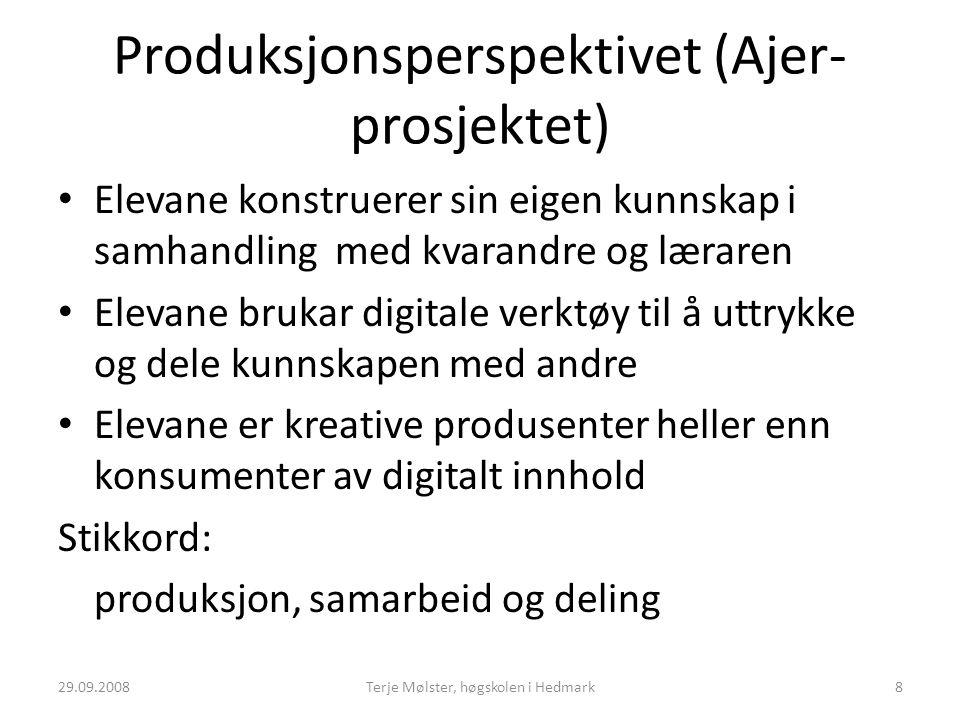 Produksjonsperspektivet (Ajer- prosjektet) Elevane konstruerer sin eigen kunnskap i samhandling med kvarandre og læraren Elevane brukar digitale verkt