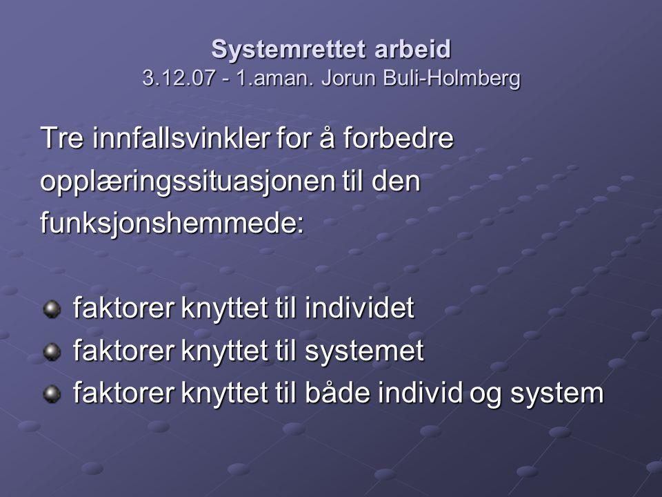 Systemrettet arbeid 3.12.07 - 1.aman. Jorun Buli-Holmberg Tre innfallsvinkler for å forbedre opplæringssituasjonen til den funksjonshemmede: faktorer