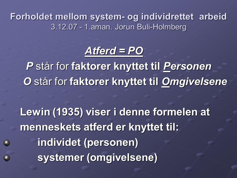 Forholdet mellom system- og individrettet arbeid 3.12.07 - 1.aman. Jorun Buli-Holmberg Atferd = PO Atferd = PO P står for faktorer knyttet til Persone