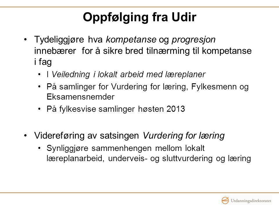 Oppfølging fra Udir Tydeliggjøre hva kompetanse og progresjon innebærer for å sikre bred tilnærming til kompetanse i fag I Veiledning i lokalt arbeid