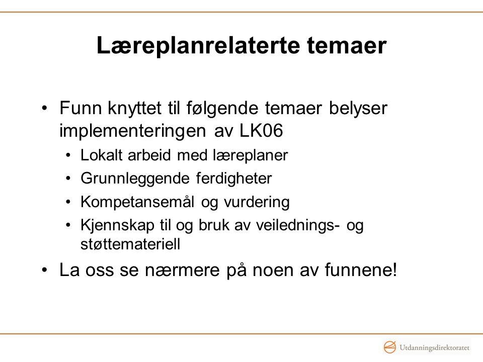 Læreplanrelaterte temaer Funn knyttet til følgende temaer belyser implementeringen av LK06 Lokalt arbeid med læreplaner Grunnleggende ferdigheter Komp