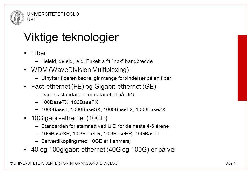 © UNIVERSITETETS SENTER FOR INFORMASJONSTEKNOLOGI UNIVERSITETET I OSLO USIT Side 4 Viktige teknologier Fiber –Heleid, deleid, leid.