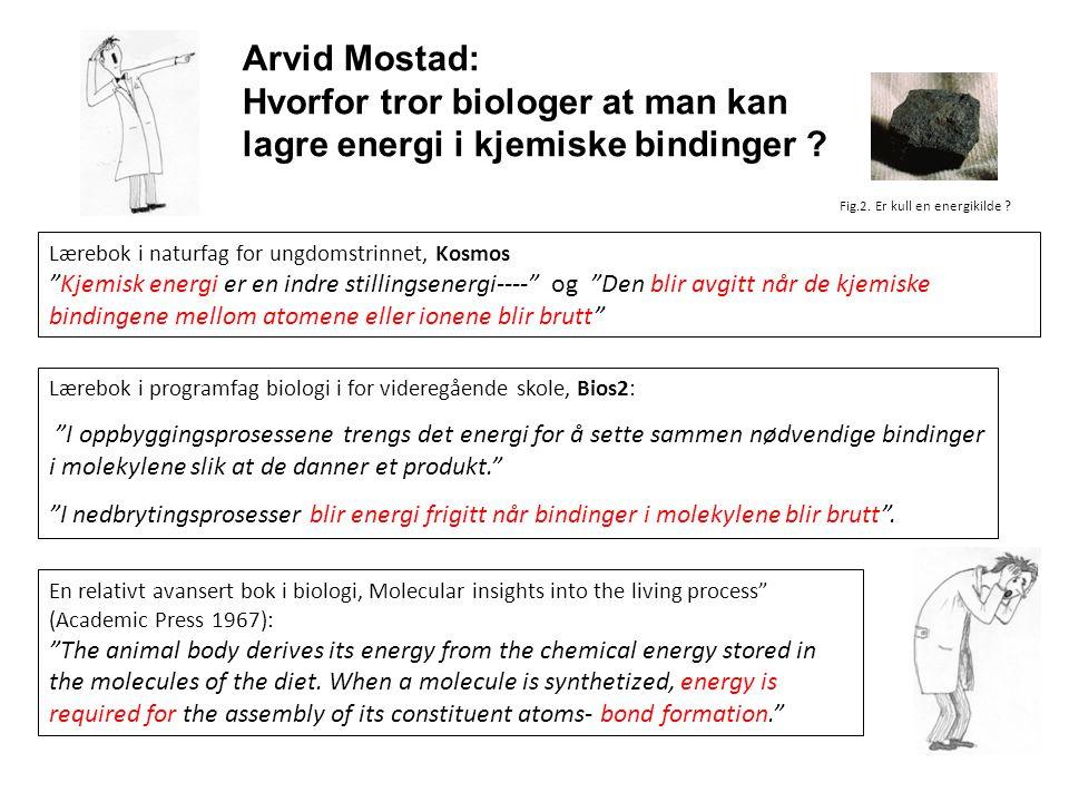 Arvid Mostad: Hvorfor tror biologer at man kan lagre energi i kjemiske bindinger ? Fig.2. Er kull en energikilde ? Lærebok i naturfag for ungdomstrinn