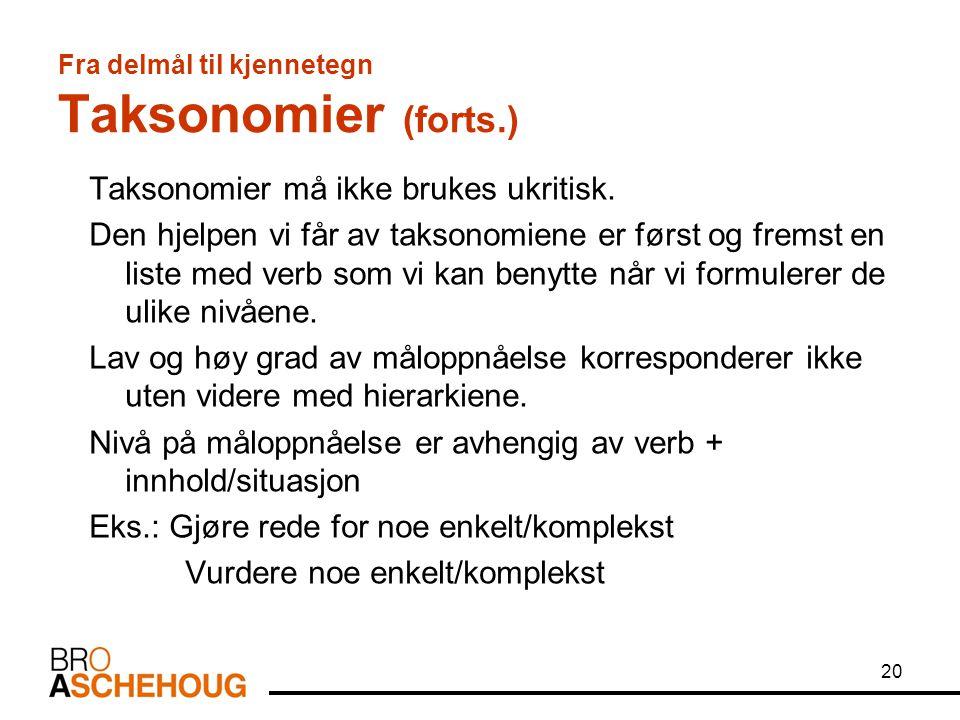 20 Fra delmål til kjennetegn Taksonomier (forts.) Taksonomier må ikke brukes ukritisk. Den hjelpen vi får av taksonomiene er først og fremst en liste