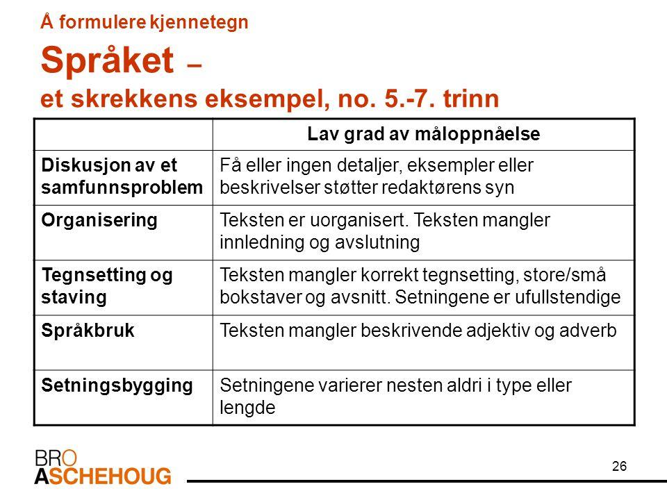 26 Å formulere kjennetegn Språket – et skrekkens eksempel, no. 5.-7. trinn Lav grad av måloppnåelse Diskusjon av et samfunnsproblem Få eller ingen det