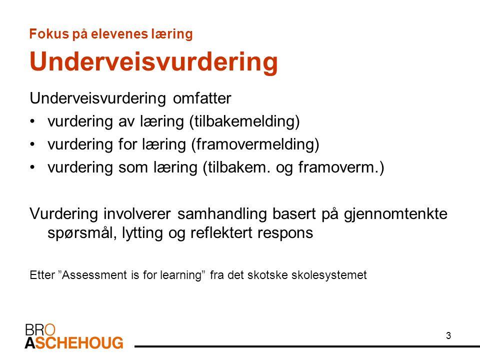 3 Fokus på elevenes læring Underveisvurdering Underveisvurdering omfatter vurdering av læring (tilbakemelding) vurdering for læring (framovermelding)