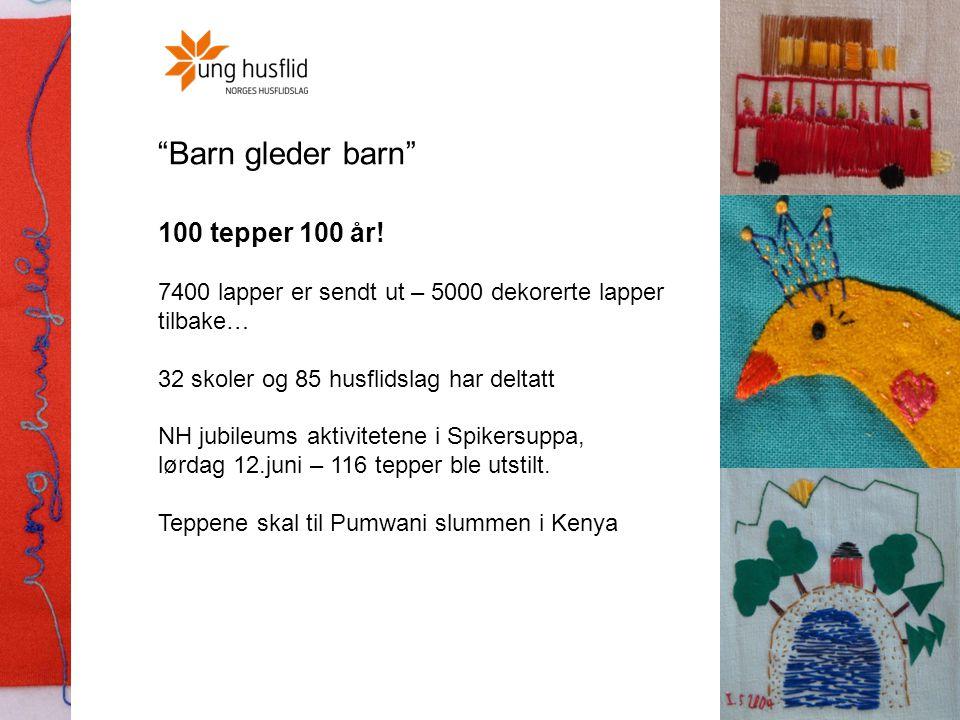 """""""Barn gleder barn"""" 100 tepper 100 år! 7400 lapper er sendt ut – 5000 dekorerte lapper tilbake… 32 skoler og 85 husflidslag har deltatt NH jubileums ak"""