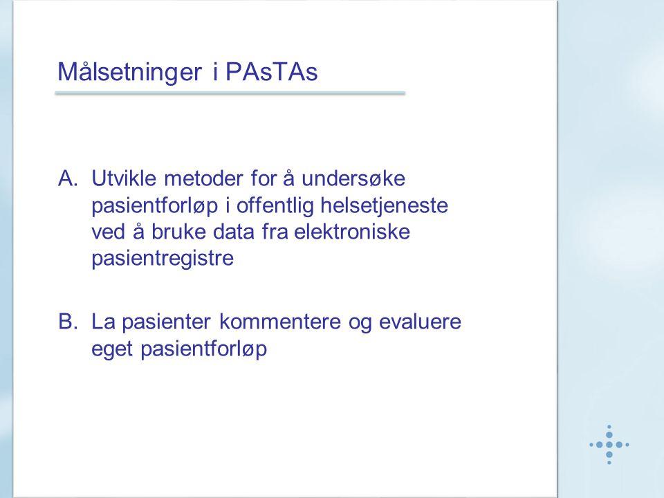 Målsetninger i PAsTAs A.Utvikle metoder for å undersøke pasientforløp i offentlig helsetjeneste ved å bruke data fra elektroniske pasientregistre B.La pasienter kommentere og evaluere eget pasientforløp