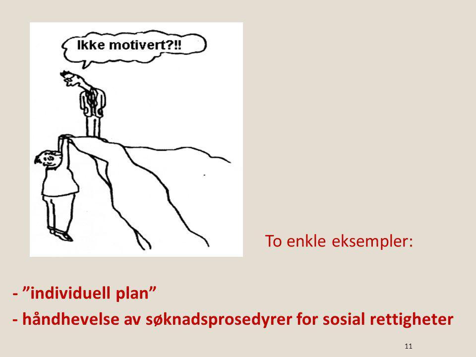 To enkle eksempler: - individuell plan - håndhevelse av søknadsprosedyrer for sosial rettigheter 11