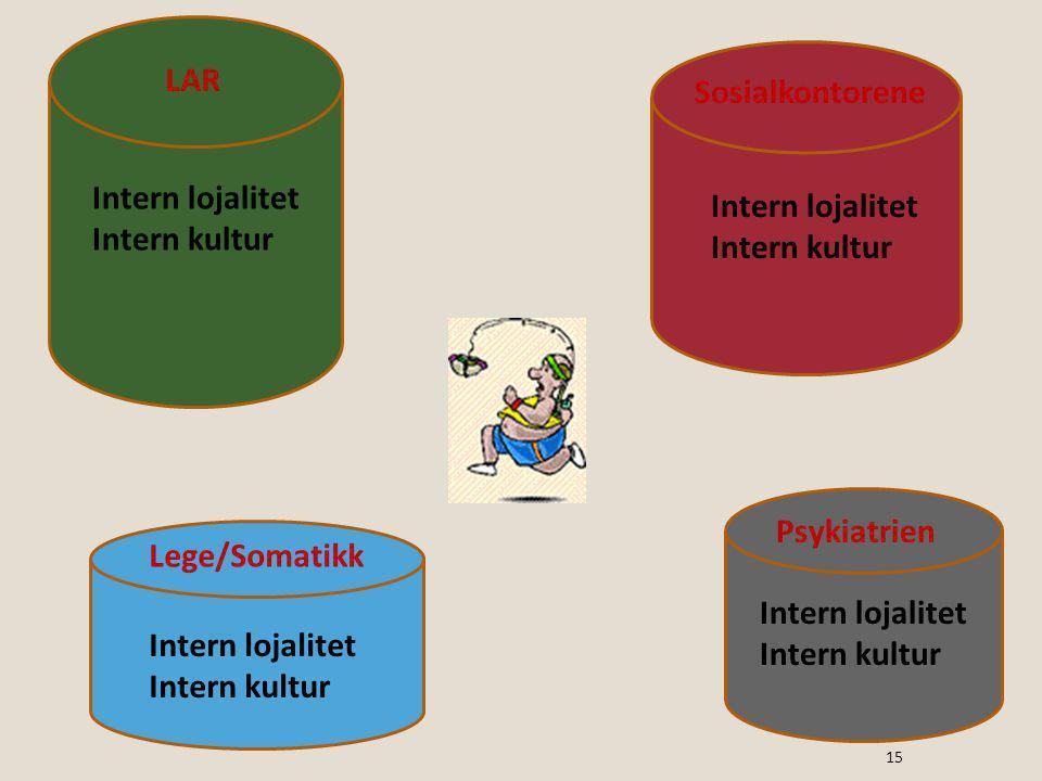 Sosialkontorene Psykiatrien Lege/Somatikk LAR Intern lojalitet Intern kultur Intern lojalitet Intern kultur Intern lojalitet Intern kultur Intern loja