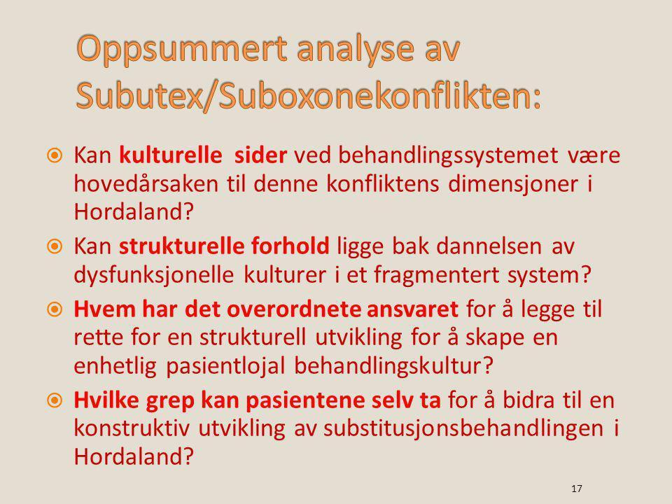  Kan kulturelle sider ved behandlingssystemet være hovedårsaken til denne konfliktens dimensjoner i Hordaland?  Kan strukturelle forhold ligge bak d