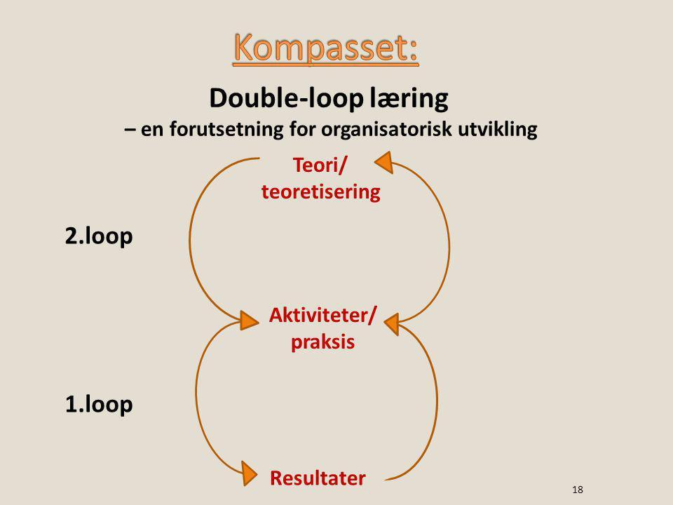 Teori/ teoretisering Aktiviteter/ praksis Resultater 2.loop 1.loop Double-loop læring – en forutsetning for organisatorisk utvikling 18