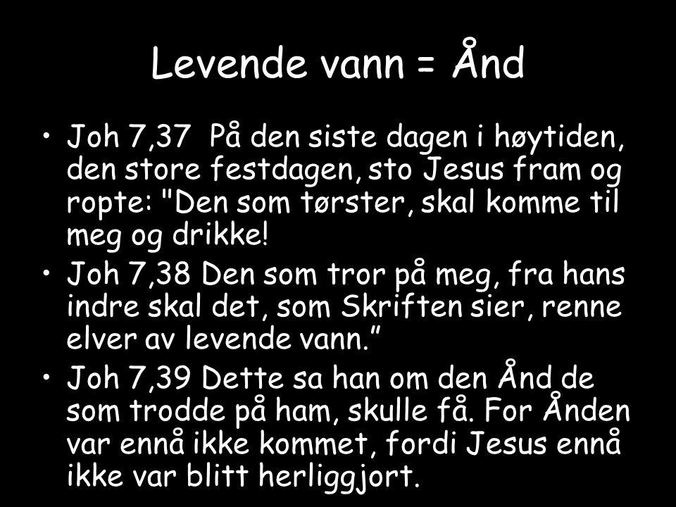 Levende vann = Ånd Joh 7,37 På den siste dagen i høytiden, den store festdagen, sto Jesus fram og ropte: Den som tørster, skal komme til meg og drikke.