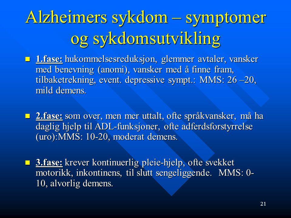 20 Alzheimers sykdom - symptomer og sykdomsutvikling Alzheimers sykdom: 50-70 % av alle demenssykdommer. Alzheimers sykdom: 50-70 % av alle demenssykd