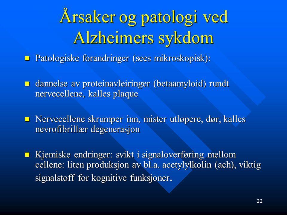 21 Alzheimers sykdom – symptomer og sykdomsutvikling 1.fase: hukommelsesreduksjon, glemmer avtaler, vansker med benevning (anomi), vansker med å finne