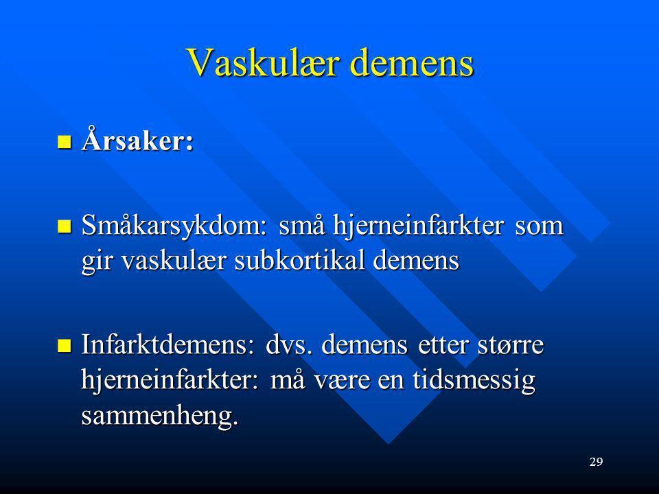 28 -Vaskulær demens 20-25 % av demenssykdommene, ofte samtidig med Alzheimers sykdom (blandingsdemens) 20-25 % av demenssykdommene, ofte samtidig med