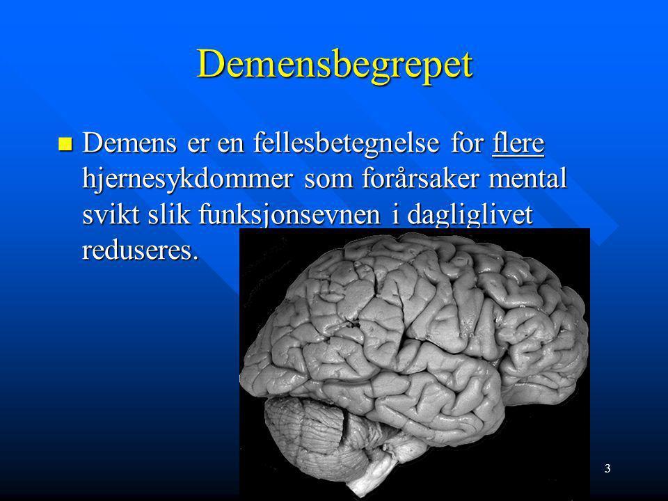 13 Definisjon, kriterier Starten: Mild kognitiv svikt: Mild kognitiv svikt: –Ingen helt klare, allment aksepterte kriterier, men vanligvis: »Subjektive minneproblem, skal være verifisert av komparent »Normal kognitiv funksjon ellers (MMS>26) »Normal ADL-funksjon »Objektiv hukommelsessvikt i forhold til alder og utdanningsnivå »Per definisjon ikke dement