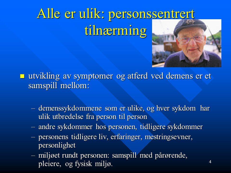 14 Risikofaktor for Alzheimers sykdom Fortsettelsen: Fortsettelsen: –Fire år etter har 50% utviklet Alzheimers sykdom
