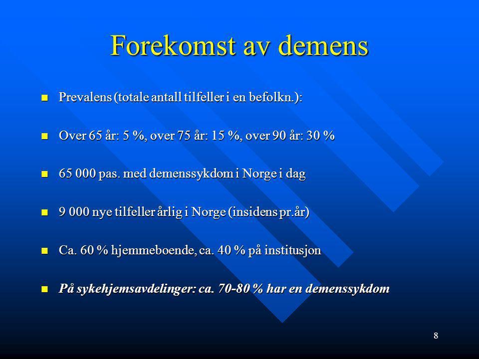 28 -Vaskulær demens 20-25 % av demenssykdommene, ofte samtidig med Alzheimers sykdom (blandingsdemens) 20-25 % av demenssykdommene, ofte samtidig med Alzheimers sykdom (blandingsdemens) Nokså lik sykdomsutvikl., ofte mer trappevis utvikling.