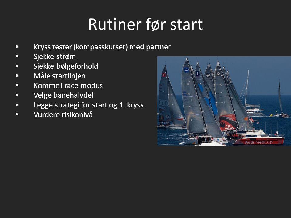 Rutiner før start Kryss tester (kompasskurser) med partner Sjekke strøm Sjekke bølgeforhold Måle startlinjen Komme i race modus Velge banehalvdel Legge strategi for start og 1.