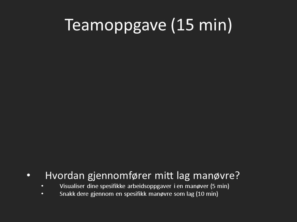 Teamoppgave (15 min) Hvordan gjennomfører mitt lag manøvre? Visualiser dine spesifikke arbeidsoppgaver i en manøver (5 min) Snakk dere gjennom en spes