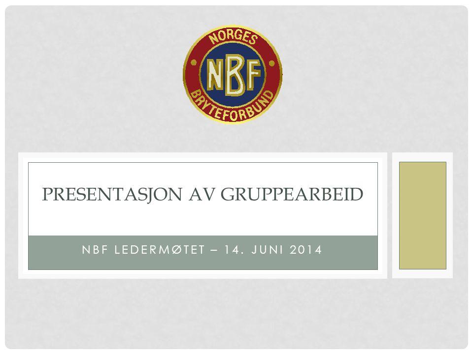 NBF LEDERMØTET – 14. JUNI 2014 PRESENTASJON AV GRUPPEARBEID