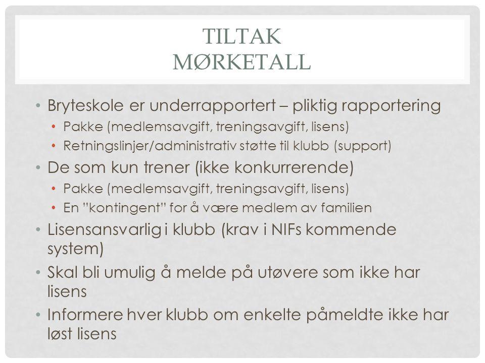 TILTAK MØRKETALL Bryteskole er underrapportert – pliktig rapportering Pakke (medlemsavgift, treningsavgift, lisens) Retningslinjer/administrativ støtt