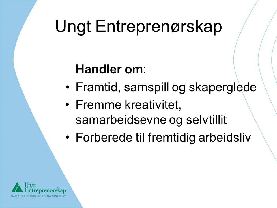 Ungt Entreprenørskap Handler om: Framtid, samspill og skaperglede Fremme kreativitet, samarbeidsevne og selvtillit Forberede til fremtidig arbeidsliv