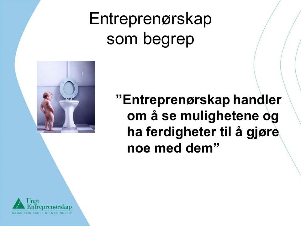 """Entreprenørskap som begrep """"Entreprenørskap handler om å se mulighetene og ha ferdigheter til å gjøre noe med dem"""""""