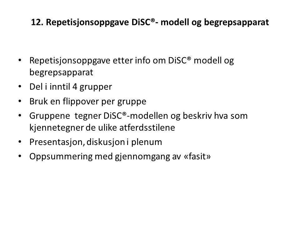 12. Repetisjonsoppgave DiSC®- modell og begrepsapparat Repetisjonsoppgave etter info om DiSC® modell og begrepsapparat Del i inntil 4 grupper Bruk en