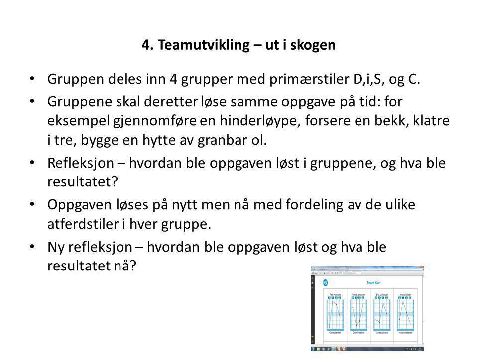 4. Teamutvikling – ut i skogen Gruppen deles inn 4 grupper med primærstiler D,i,S, og C. Gruppene skal deretter løse samme oppgave på tid: for eksempe