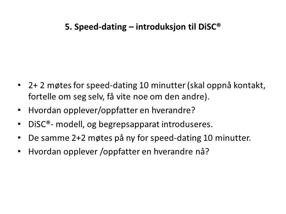 5. Speed-dating – introduksjon til DiSC® 2+ 2 møtes for speed-dating 10 minutter (skal oppnå kontakt, fortelle om seg selv, få vite noe om den andre).