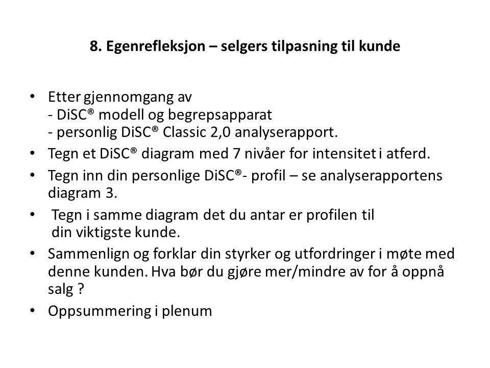 8. Egenrefleksjon – selgers tilpasning til kunde Etter gjennomgang av - DiSC® modell og begrepsapparat - personlig DiSC® Classic 2,0 analyserapport. T