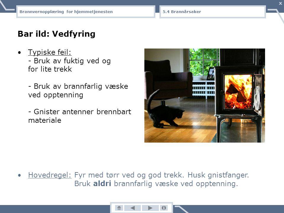 Brannvernopplæring for hjemmetjenesten X Bar ild: Røyking Røyking er den største årsaken til dødsbranner. Typiske feil: - Sigarettglør faller ned på b