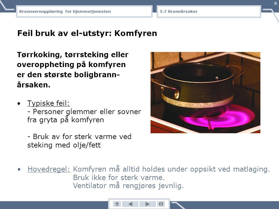 Brannvernopplæring for hjemmetjenesten X Bar ild: Annet Barns lek med fyrstikker/lighter Varme arbeider (sveising, bruk av varmepistol/ vinkelsliper o