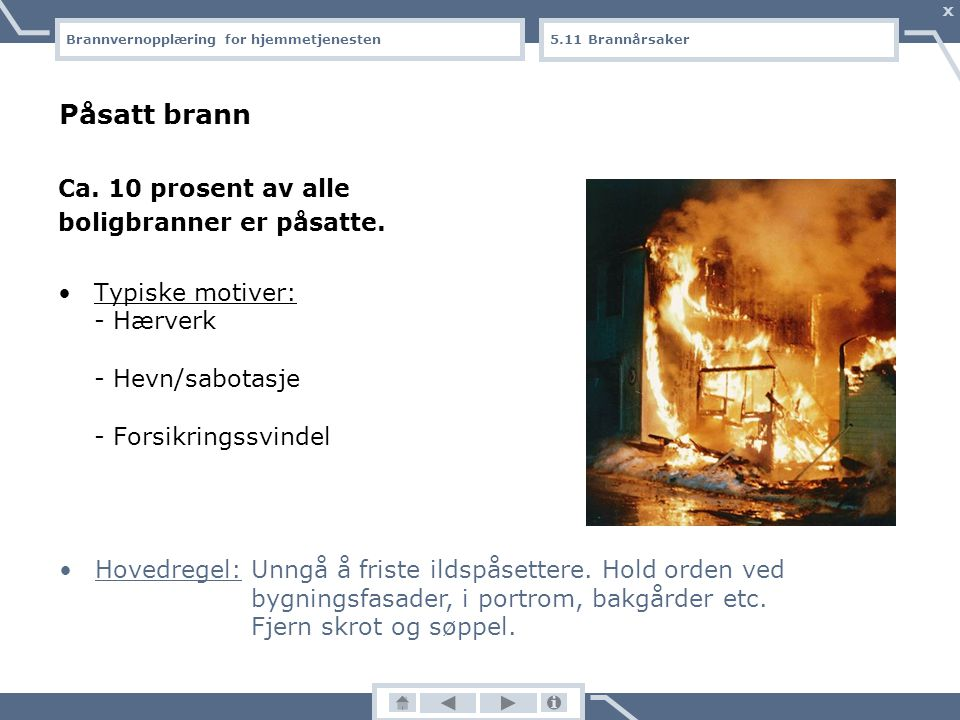 Brannvernopplæring for hjemmetjenesten X Svikt i el-anlegg/el-utstyr (2): Typiske feil: - Elektrisk utstyr brukes uten tilsyn, f.eks. om natta eller n