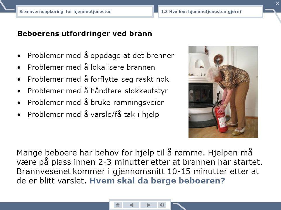Brannvernopplæring for hjemmetjenesten X 7.1 Slokke brann Slokkeutstyr I Norge er det påbudt å ha en husbrannslange eller et minimum 6-kilos brannslokkeapparat i alle boenheter Slokkeutstyret skal plasseres lett tilgjengelig og må fungere til en hver tid Husbrannslangen må være lang nok til at den rekker til alle rom i boligen Les bruksanvisningen!