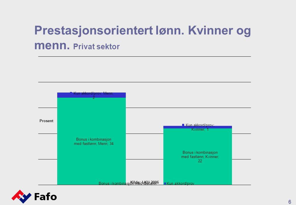 Prestasjonsorientert lønn. Kvinner og menn. Privat sektor 6